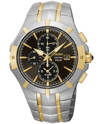 Seiko Men's Chronograph Coutura Solar Two Tone Stainless Steel Bracelet Watch 41Mm Ssc198