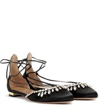Aquazzura Alexa Embellished Satin Ballerinas Black