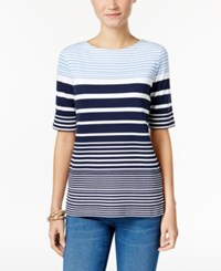 Karen Scott Striped Boat Neck T Shirt Only At Macy's Blue Finch