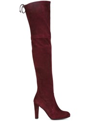 Stuart Weitzman Thigh Length High Boots Red