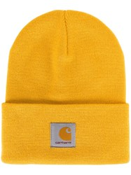 Carhartt Logo Patch Beanie Hat Yellow Orange