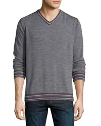 Robert Graham Shayne Tipped V Neck Sweater Charcoal Grey