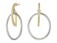 French Connection Orbital D Ring Hoop Earrings Silver Matte Gold Earring