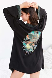 Out From Under Michelle Mix Print Robe Black