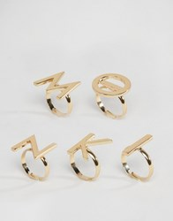 Monki Letter Ring Pack Gold