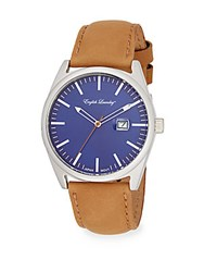 English Laundry Stainless Steel Tan Leather Strap Watch Tan Blue