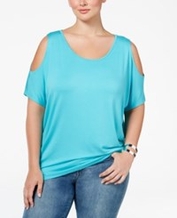 Ing Plus Size Cold Shoulder Tunic Moroccan Turquoise