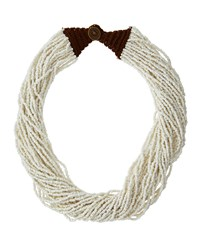 Kenneth Jay Lane Multi Strand Seed Bead Necklace White