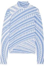 Peter Pilotto Stretch Jacquard Turtleneck Top Blue