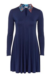 Contrast Collar Dress By Love Navy Blue