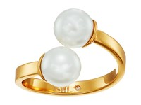 Rebecca Minkoff Two Tone Double Bead Ring Gold Pearl Ring