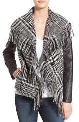 Guess Women's Fringe Trim Glen Plaid Faux Leather Moto Jacket Black White Plaid