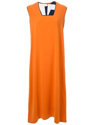 Bintthani Layered Neck Mid Length Dress Yellow And Orange