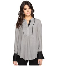 Free People Pebble Crepe Bird Stripe Pullover Neutral Women's Long Sleeve Pullover