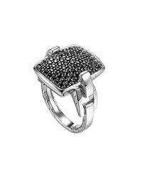 John Hardy Classic Chain Silver Lava Black Sapphire Ring Blue