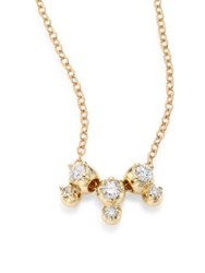 Mizuki Sea Of Beauty Three Drop Diamond And 14K Yellow Gold Pendant Necklace