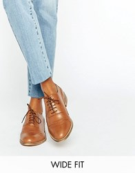 Asos Make Up Wide Fit Leather Brogues Tan