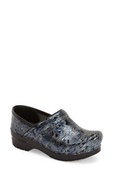 Dansko Women's 'Professional' Patterned Clog Silver Blue Patent Leather