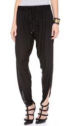 Haute Hippie Draped Jersey Harem Pants Black