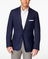 Dkny Blue Windowpane Extra Slim Fit Blazer
