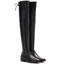 Stuart Weitzman Lowland Skimmer Leather Over The Knee Boots Black