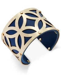 Charter Club Gold Tone Filigree Leather Look Open Cuff Bracelet Only At Macy's Navy