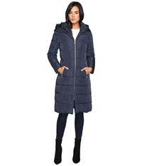Cole Haan 40 Quilted Down Coat With Oversized Hood Dark Navy Women's Coat