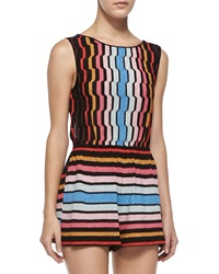 Missoni Mare Tuta Shimmery Striped Knit Short Jumpsuit