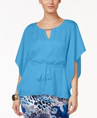 Thalia Sodi Belted Capelet Top Only At Macy's Triton Blue
