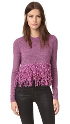 Mcq By Alexander Mcqueen Fringe Sweater Burgundy Electric Pink