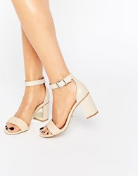 Oasis Block Heeled 2 Part Sandal Nude Cream