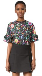Victoria Beckham Printed Ruffle Tee Embroidered Flower Black Multi