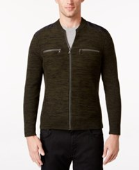 Inc International Concepts Men's Manchester Heathered Mixed Media Sweater Only At Macy's Evening Olive