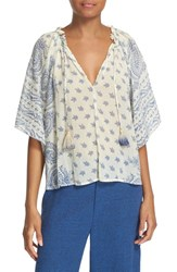 Sea Women's Paisley Print Cotton And Silk Peasant Top