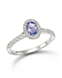 Bloomingdale's Tanzanite And Diamond Ring In 14K White Gold Blue White