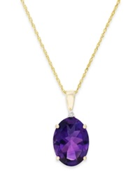 Macy's Amethyst 5 Ct. T.W. And Diamond Accent Pendant Necklace In 14K Gold Yellow Gold