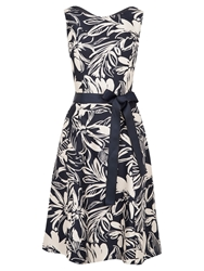 Viyella Floral Fit And Flare Dress Navy