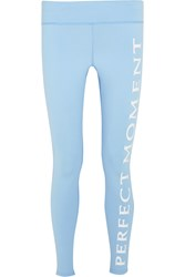 Perfect Moment Printed Stretch Jersey Leggings Sky Blue