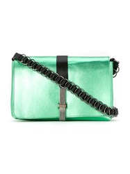 Reinaldo Lourenco Metallic Crossbody Bag Green