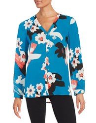 Ivanka Trump Floral Button Front Top Turkish Blue