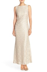 Women's Ellen Tracy Cowl Back Sequin Mermaid Gown Champagne