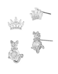 Betsey Johnson Cat And Crown Two Piece Stud Earring Set Silver