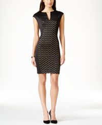 Connected Chevron Pattern Panel Sheath Dress