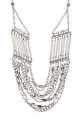 Sam Edelman Multi Row Mixed Chain Bib Necklace Metallic