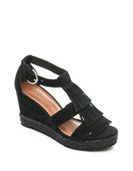 Bernardo Kaya Suede Wedge Sandals Black