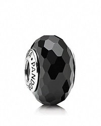 Pandora Design Pandora Charm Murano Glass Black Fascinating Moments Collection Silver Black