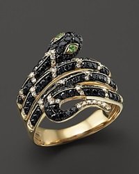 Bloomingdale's Black And White Diamond Snake Ring With Tsavorite In 14K Yellow Gold Gold Black Green