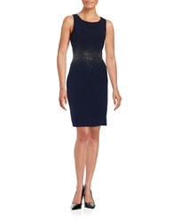 Calvin Klein Rhinestone Sleeveless Sheath Dress Blue