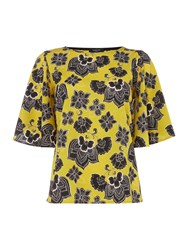 Therapy Paisley Split Back Blouse Mustard