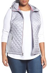 Michael Michael Kors Plus Size Women's Mixed Media Hooded Front Zip Vest Silver